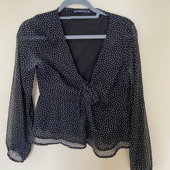 Polka Dot Blouse with Front Tie